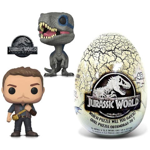 Funko POP Movies Jurassic World 2 Owen, Blue and 46 Piece Mystery Egg Puzzle (3 Items)