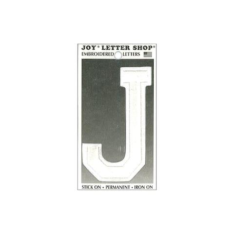 "Joy Applique Letter Iron On Varsity 3"" White J"