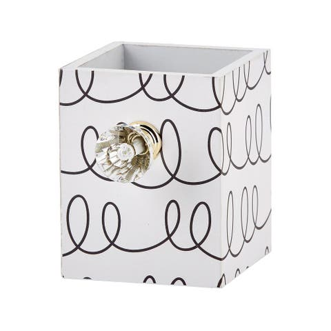 "4"" White and Black Doodle Pencil and Pen Cup with Crystal Design"