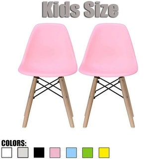 2xhome - set of 2 Pink Plastic Wood Chairs Natural Wood Kids Children.