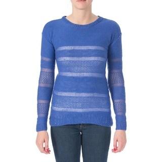 Oh!MG Womens Juniors Pullover Sweater Crochet Hi-Low