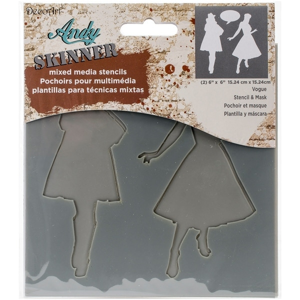 "Andy Skinner Mixed Media Stencil & Mask Set 6""X6""-Vogue"