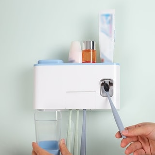 Link to Toothpaste Dispenser with Self Sticker for Bathroom Similar Items in Toothbrush Holders