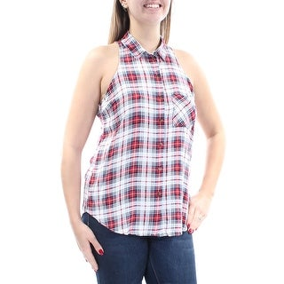 POLLY & ESTHER $20 Womens 1166 Red Sleeveless Button Up Casual Top Juniors L B+B