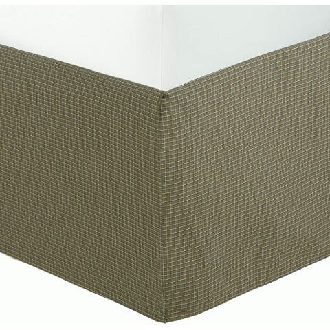 """Olive Green Check Pattern Bed Skirt Cotton Yarn Dyed Pleated Dust Ruffle with Split Corners Tailored 16"""" Drop"""