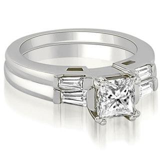 1 05 CT Princess Baguette Cut 3 Stone Diamond Bridal Set In 14KT White H I