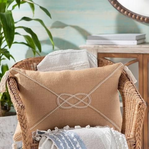 Darya Nautical Knot 14x22-inch Jute Lumbar Throw Pillow