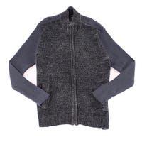 Alfani Charcoal Ebony Gray Mens Size 2XL Ribbed Full Zip Sweater