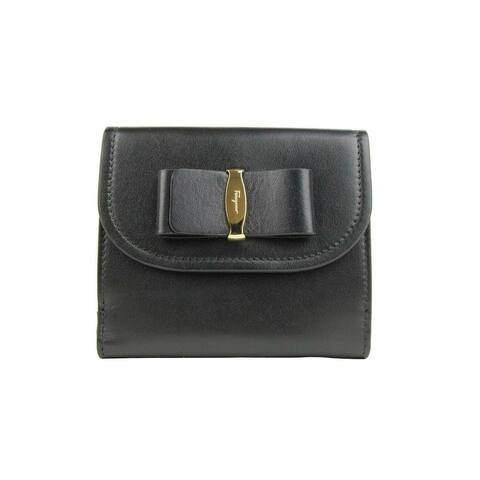 Salvatore Ferragamo Women's Black Leather French Wallet With Bow 0660454 - One Size