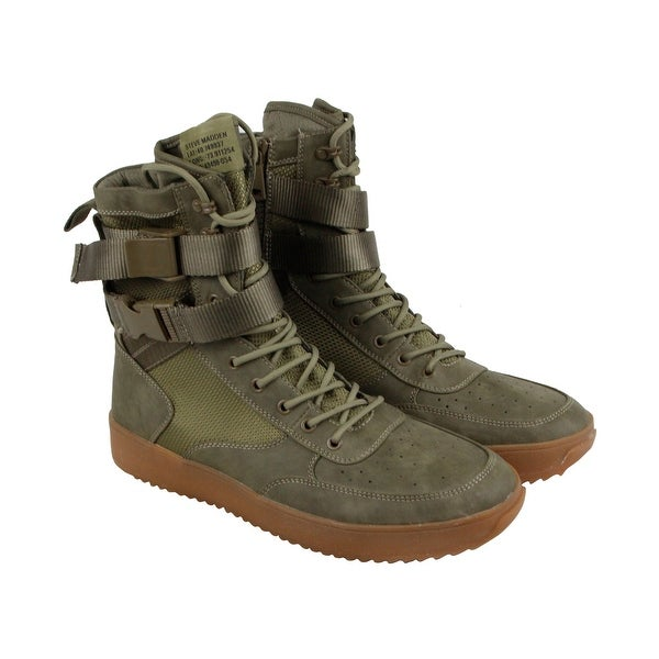 761eb1f5614 Steve Madden Zeroday Mens Green Leather High Top Lace Up Sneakers Shoes