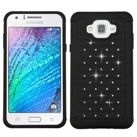 Insten Dual Layer Hybrid Rubberized Hard PC/ Silicone Case Cover With Diamond For Samsung Galaxy J7 2015 Version