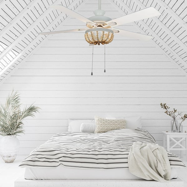 The Curated Nomad Lindum 52-inch Cream Wood Chandelier LED Ceiling Fan. Opens flyout.