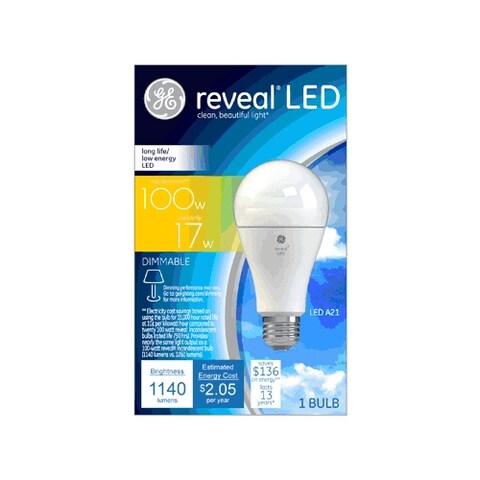 GE 45658 Medium Base Reveal A21 Dimmable LED Light Bulb, 17 Watts