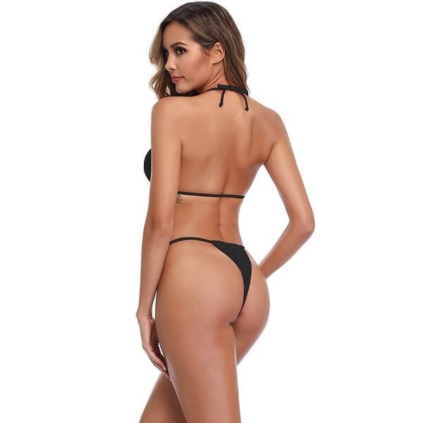 XUNYU Bikini Set Bandage Solid Brazilian Swimwear Two Pieces Swimsuit Padded ... - Medium