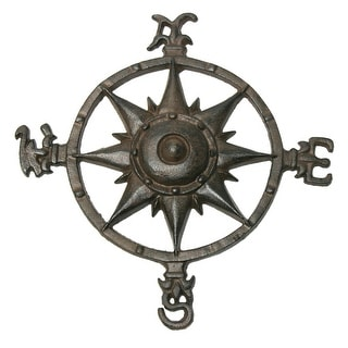 Cast Iron Rustic Compass Rose Sculpture Wall or Garden Decor