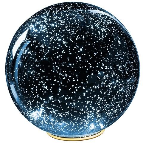 Lighted Mercury Glass Ball Sphere - Blue - LARGE