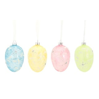 """Pack of 24 Floral Egg Holiday Hanging Ornaments with Diamonds 4"""""""
