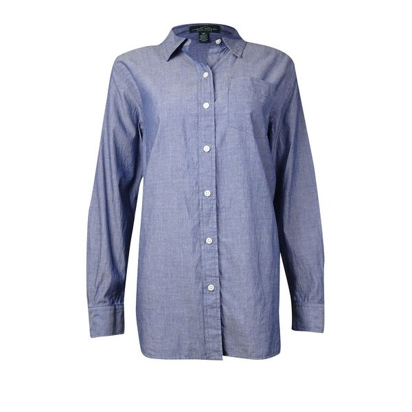 8cf4f6cbf Shop Lauren Ralph Lauren Women's Chambray Button Down Shirt - blue dawn -  On Sale - Free Shipping Today - Overstock.com - 15015658