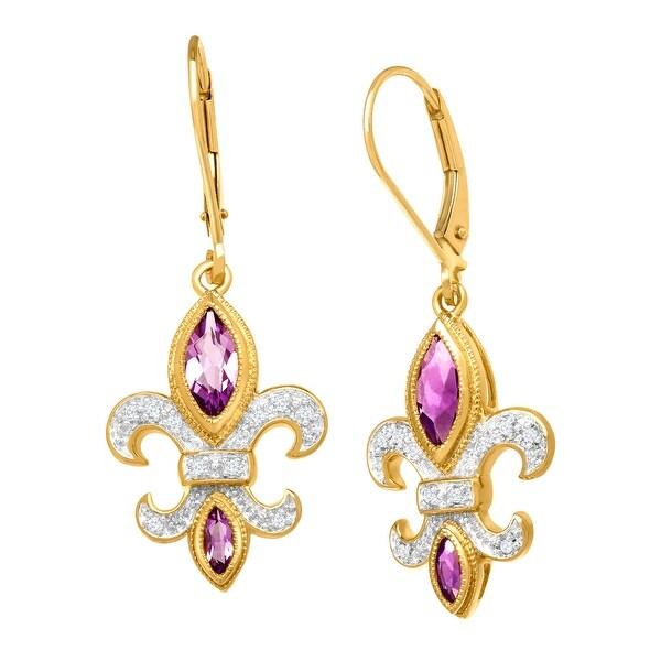 7/8 ct Light Amethyst Fleur-de-Lis Drop Earrings with Diamonds in 14K Yellow Gold - Purple