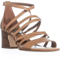 Nine West Youlo Ankle Strap Block Heel Sandals, Dark Natural
