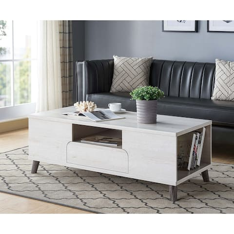 Furniture of America Mankx Mid-Century White Oak 1-drawer Coffee Table