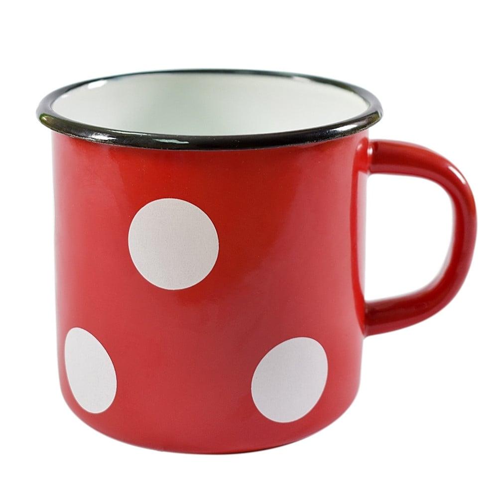 STP-Goods 33.8-oz Red White Polka-dot Enamelware Mug (White)