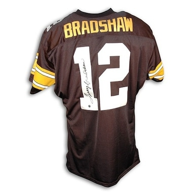 lowest price fe655 b5ac8 Autographed Terry Bradshaw Pittsburgh Steelers Black Throwback Jersey