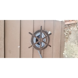 Vanora Outdoor Aluminum Ship Wheel Hose Holder by Christopher Knight Home