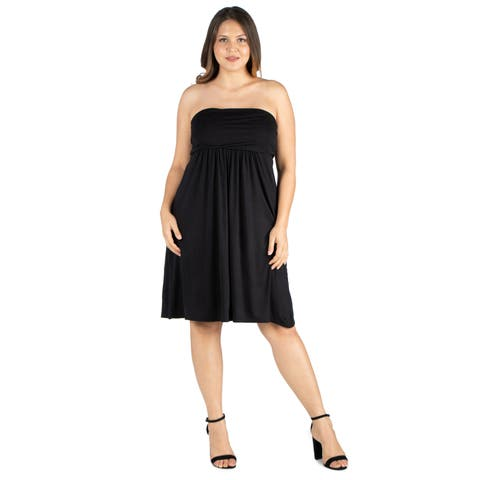 24seven Comfort Apparel Knee Length Plus Size Strapless Mini Dress