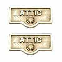 2 Switch Plate Tags ATTIC Name Signs Labels Lacquered Brass | Renovator's Supply