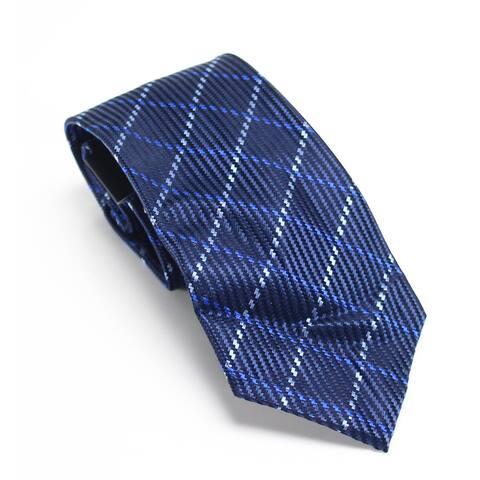 Sean John Men's Blue One Size Texture Windowpane Slim Neck Tie Silk