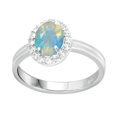 Sterling Silver with Natural Ethiopian Opal and White Topaz Halo Ring