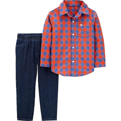 Carters Boys 2T-4T Plaid Woven Pant Set - Red