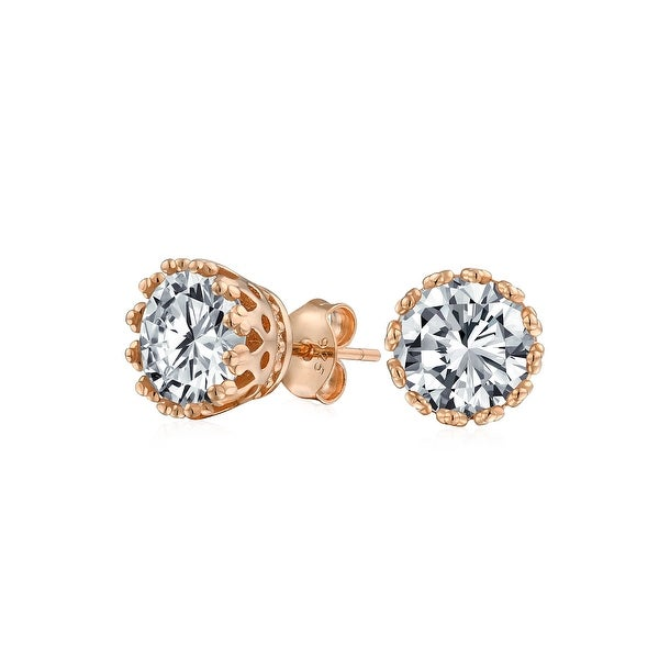 04ae9179753 Shop 1 CT Crown Set Cubic Zirconia Round Solitaire CZ Stud Earrings For Women  14K Rose Gold Plated 925 Sterling Silver 7MM - On Sale - Free Shipping On  ...