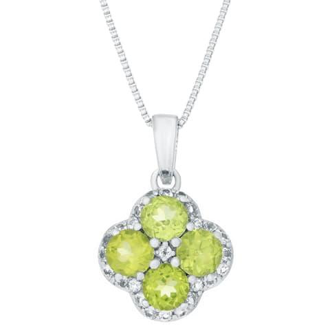 Sterling Silver Birthstone Flower Pendant Necklace