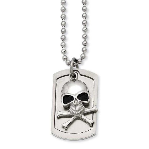 Stainless Steel Antiqued Skull & Cross Bones Dogtag Pendant 24in Necklace (2 mm) - 24 in