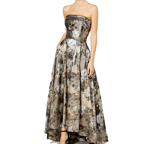 a105b718962d4 Shop Xscape Silver Gold Floral Brocade 10 Strapless Pleated Gown ...