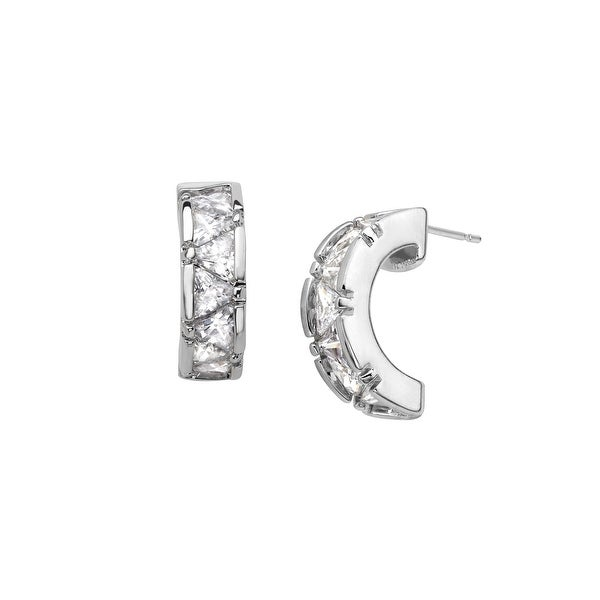 Hoop Earrings with Cubic Zirconia in Sterling Silver Plate - White