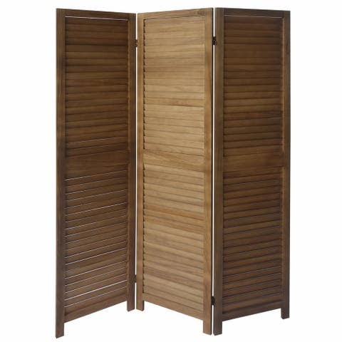 3 Panel Foldable Wooden Divider Privacy Screen with Shutter Design and Metal Hinges, Brown - 66.92 H x 54.21 W x 2.36 L Inches
