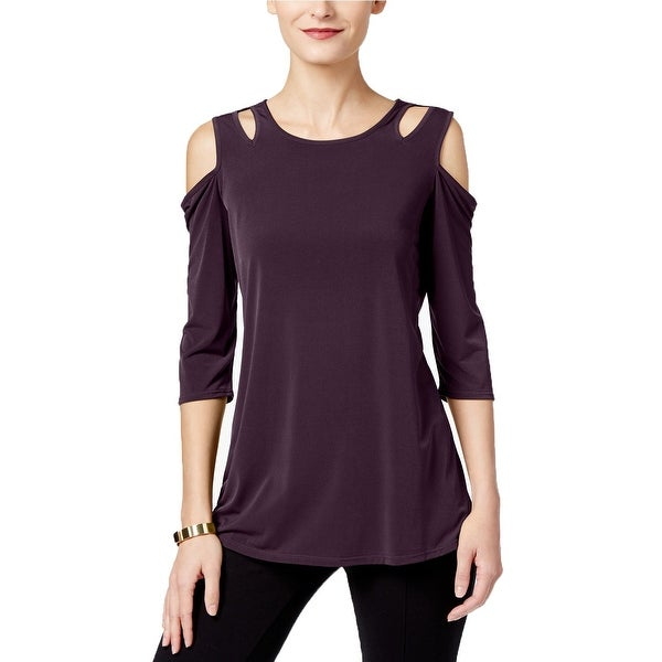 NY Collection Purple Women's Size XS Cut Out Cold-Shoulder Blouse
