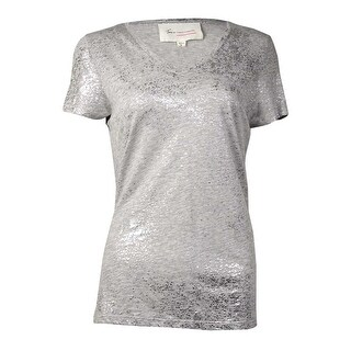 Vince Camuto Women's Shimmer V-Neck T-Shirt (S, Grey Heather) - S