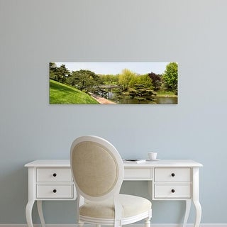 Easy Art Prints Panoramic Image 'Bridge and Japanese Garden, Chicago Botanic Garden, Glencoe, Illinois' Canvas Art