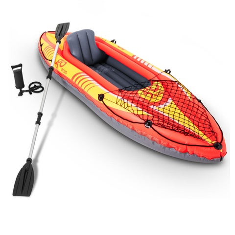 Goplus 1-Person Inflatable Canoe Boat Kayak Set W/ Aluminum Alloy Oar Hand Pump