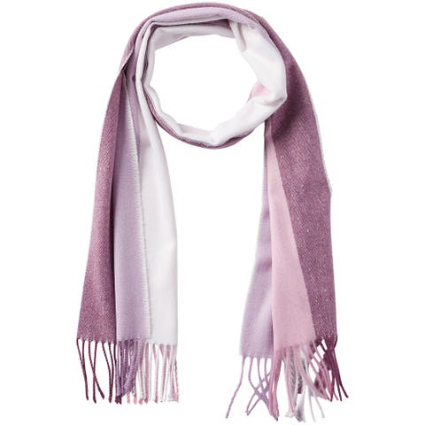 6.25' Purple and Pink Stylish and Fashionable Tickled Pink Vibrant Stripe Fringe Scarf