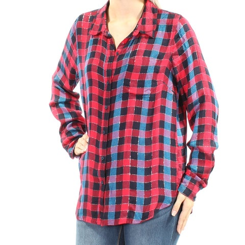LUCKY BRAND Womens Red Plaid Cuffed Collared Button Up Top Size: M