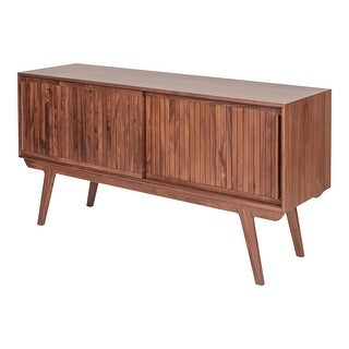 Link to Aurelle Home Mid-Century Modern Sliding Door Solid Walnut Sideboard Similar Items in Dining Room & Bar Furniture