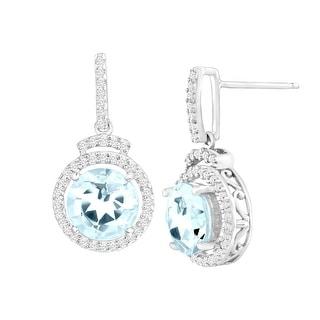 2 3/8 ct Natural Aquamarine & 1/4 ct Diamond Drop Earrings in 14K White Gold - Blue