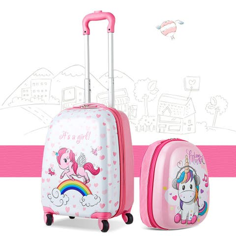 Gymax 2PC Kids Luggage Set 12'' Backpack & 16'' Rolling Suitcase for