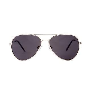 Silver Frame Black Lenses Aviator Sunglasses - One size