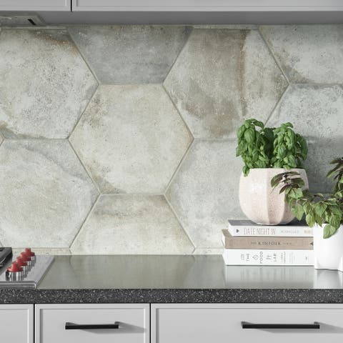 SomerTile 14.125x16.25-inch Tremont Ferro Hex Bianco Porcelain Floor and Wall Tile